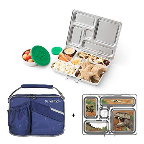 PlanetBox ROVER Eco-Friendly Stainless Steel Bento Lunch Box with 5 Compartments for Adults and Kids - Starry Blue Carry Bag with Dinosaurs Magnets