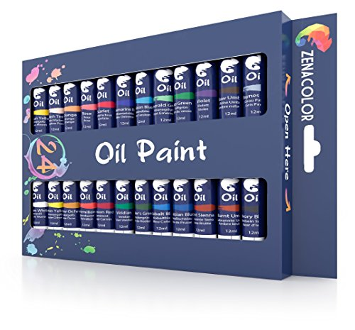 Zenacolor - 24 Tubos de Pinturas Oleo 12ml - Set de 24 Pinturas Unicos para Niños o para Artistas Profesionales