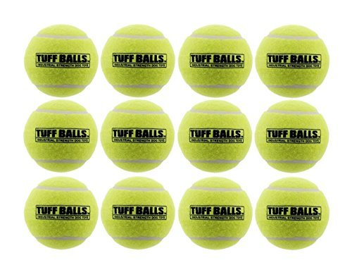 PetSport USA 2.5 Tuff Balls for Medium Dogs [Pet Safe Non-Toxic Industrial Strength Tennis Balls for Exercise, Play Time & Dog Training](12 Pack)
