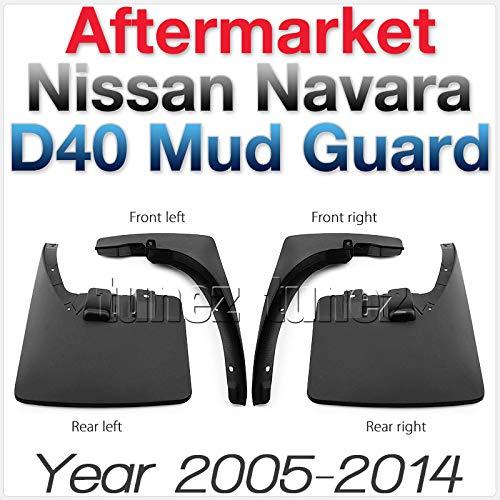 TUNEZ® - Guardabarros delantero trasero izquierdo derecho para Navara D40 Outlaw RX ST ST-X 550 Tekna dCi Aventura Visia Titanium Año 2005 – 2015