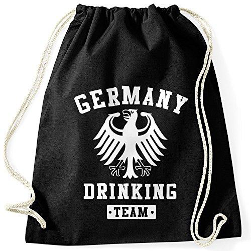 MoonWorks Schicker Festival Turnbeutel Germany Drinking Team Adler Bier schwarz Unisize