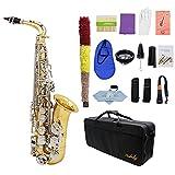 ammoon LADE Saxofón Alto Saxófono Latón Brillante Grabado Eb E-Flat Botón de Shell Blanco...