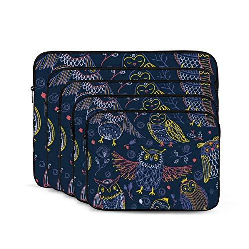 KUUDJIT Cute Owls in Boho 12/13/15/17 Inch Laptop Sleeve Bag for MacBook Air 13 15 MacBook Pro Portable Zipper Laptop Bag Tablet Bag,Diving Fabric,Waterproof
