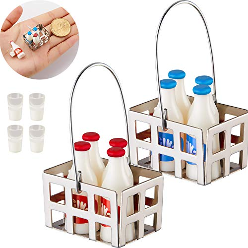 Sumind 14 Pieces 1:12 Miniature Dollhouse Accessories Miniature Milk Crate with Milk Bottles and Milk Cups Miniature Milk Models Mini Dollhouse Accessories Kitchen Food