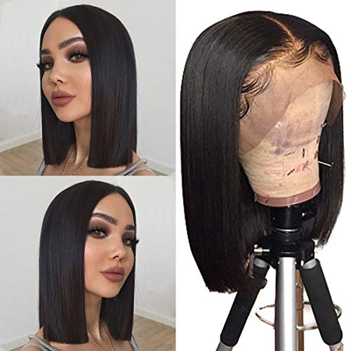 Human Hair Lace Front 13x4 Wigs Bob 10 Inch 130 Density Brazilian Virgin Human Hair Short Bob Wigs Straight Hair Natural Color