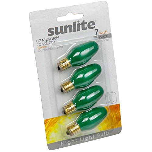 Sunlite 7C7/G/CD4 Incandescent 7-Watt, Candelabra Based, C7 Night Light Colored Bulb, Green, 4 Pack