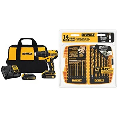 DEWALT DCD777C2 20V Max Lithium-Ion Brushless Compact Drill Driver with DW1354 14-Piece Titanium Drill Bit Set