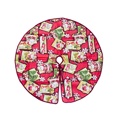 BESTOYARD Jupe de Sapin de Noël Tapis Sapin de Noel Cache Couvre Pied de Sapin de Noel avec Motif de Pere Noel Flocon de Neige 90cm