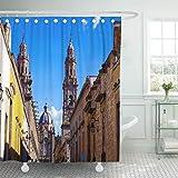JOOCAR Design Duschvorhang, Amerika Morelia, historische spanische Stadt in Mexiko, antike Architektur, wasserdichter Stoff, Badezimmerdekor-Set mit Haken