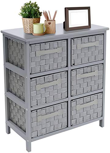 Sorbus 6-Drawer Storage Wooden Chest Nightstand End Table with Woven-Strap Fabric Basket Bins Drawers Great Storage Solution for Home Bedroom Closet Bathroom Organization Decor 6-Drawer Gray