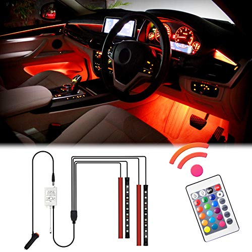 USB Port 5V POMILE Strip Lights LED For Car 4 x 27CM Multicolor Music Car Interior Lights Under Dash Lighting Waterproof Kit with Sound Active Function and Wireless Remote Control 4pcs 60 LED Car Charger Included