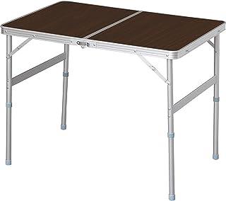 アイリスプラザ テーブル アウトドア 幅90×奥行60×高さ70~39cm ブラウン