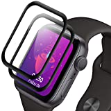 NLOEE Protector Pantalla para Apple Watch 44mm Series 6/5/4/SE, [2 Pack] Cristal Templado Protector para iWatch 6/5/4/SE, Dureza 9H, 3D Cobertura Completa, No Burbujas