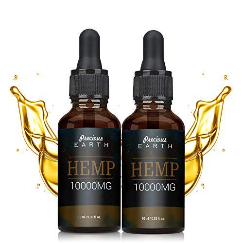 (2 Pack) Precious Earth Hemp Natural Oil (10000MG-10ML), High Strength Formula, Rich in Omega 3-6-9 & Vitamins, Vegan Friendly
