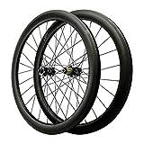 ZFF 700C Freno Disco Ciclocross Bicicleta Carretera Juego De Ruedas Fibra Carbon Rueda Eje Pasante Rueda De Bicicleta 7/8/9/10/11/12 Velocidad 1700g 24Orificios (Color : Black, Size : 40MM)