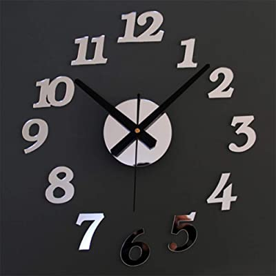 TWDRF 3D Sticker Acrylic Digital Big Wall Clock Home Office Mute Decorative DIY Wall Clock