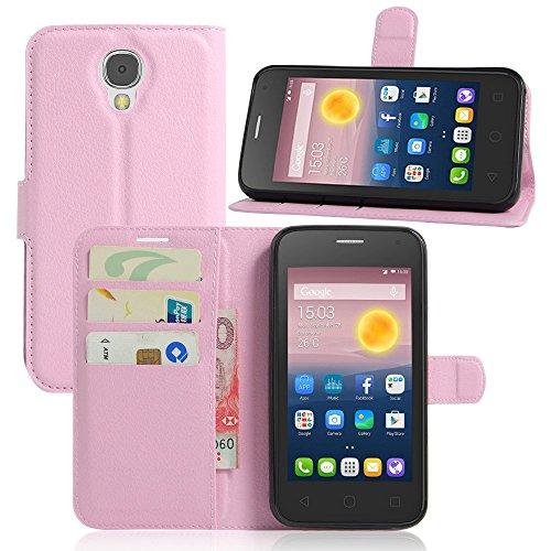 Ycloud Tasche für Alcatel Pixi 4 (5.0 Zoll) 5010D 3G Version Hülle, PU Ledertasche Flip Cover Wallet Case Handyhülle mit Stand Function Credit Card Slots Bookstyle Purse Design rosa