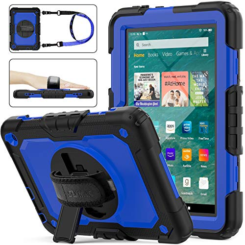 SEYMAC stock Case for FireHD 8/8Plus 10th Generation 2020 Release DropProof FullBody Case with 360 Degrees Rotating Stand Screen Protector Hand Strap for FireHD 8amp 8 Plus 10th GenBlueBlack