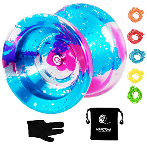 MAGICYOYO Y01 Node Professional Unresponsive Yoyo, Long Spinning Time Prettiest Yoyo with Glove, Yoyo Bag and 5 Replacement Yoyo Strings (Blue+Pink+Silver)