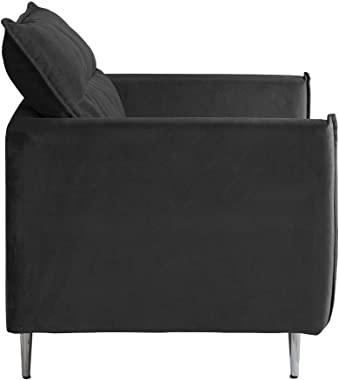 "Casa Andrea Mid-Century Upholstered 35.4"" inch Velvet Armchair, Living Room Accent Chair (Dark Grey)"