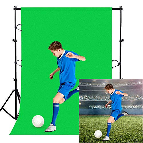Green Screen Backdrop Curtain 5x7FT Muslin Photography Background Chroma Key Screen Kit with Clamps and Suction Cups for Meeting Photo Video Online Recording