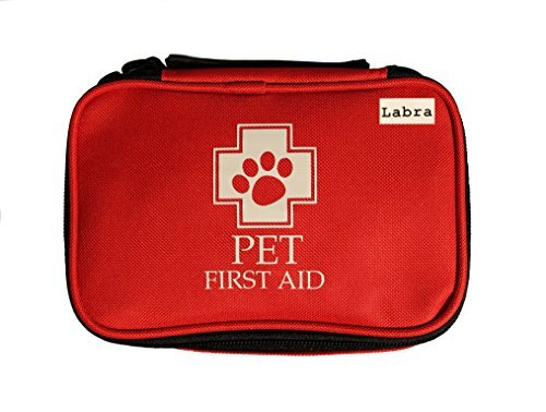 Labra 28 Piece Pet Canine K9 Dog First Aid Kit for Emergencies Safety When Walking Running Hiking Camping Injuries Cuts Wounds Scrapes