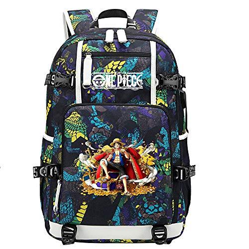 ZZGOO-LL One Piece Monkey·D·Luffy/Nami Anime Mochilas Moda Viaje Mochila Informal Negocios Universidad USB Unisex-G