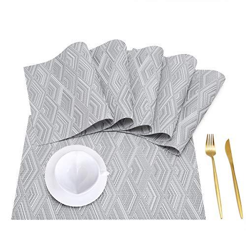 HRainbow Individuales de Mesa Plastico PVC Manteles Individuales Lavables Salvamanteles Individuales Plastico Resistente al Calor Manteles Individuales Vinilo (Gris, Set de 6)