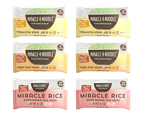 Miracle Noodle Shirataki Konjac Pasta and Rice Variety Pack, 7 oz (Pack of 6)