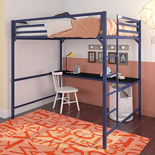 DHP 4308629 Miles Full Metal Loft Bed with Desk, Blue