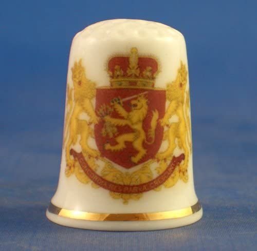 Porcelain China Collectable Thimble - National Emblem of Netherl