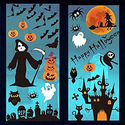 DIYASY Halloween Window Clings,6 Sheet 85 Pcs Death Bat and Pumpkin Stickers Decals for Kids Window Glass Decoration.