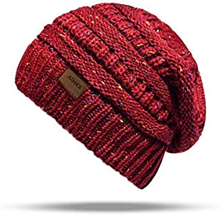 ANGUO Women's Warm Chunky Thick Stretchy Knit Beanie Skull Cap Winter Knitting Warm Hat(Red)