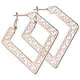 YL Hoop Earrings Stainless Steel Geometric Filigree Square Huggie 18k Rose Gold Hoop Loop Earrings for Women
