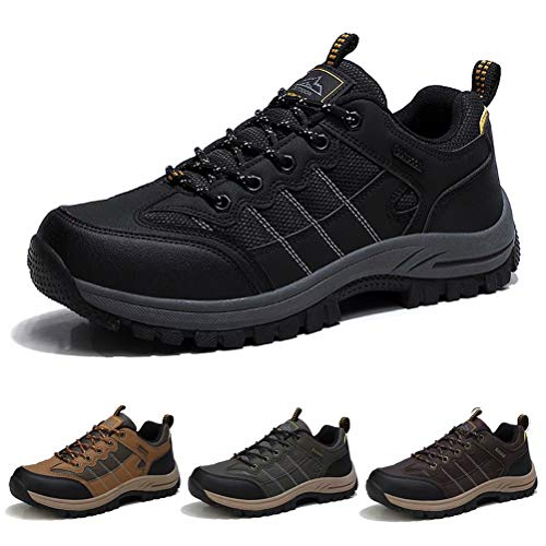 SPSHOOS Wanderschuhe Herren Leicht Atmungsaktiv Trekkingschuhe rutschfest Outdoor Hiking Schuhe Schwarz 43