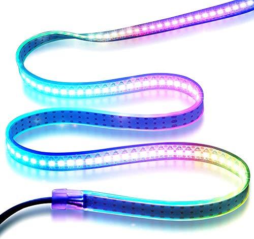 LED strilen,WS2812B Individuell adressierbarer LED-Streifen 1m/3.3 Fuß vollfarbige LED-Streifenleuchten 144 LED Pixel flexibles Licht 5050 RGB SMD wasserdicht IP67 weiß PCB 5V DC