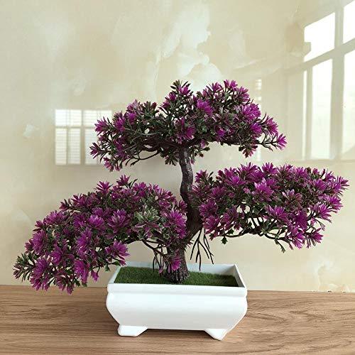 Bonsai artificiale, albero di loto/pino/ganoderma, in vaso di plastica, per interni e da tavolo, decorazione per la casa, D