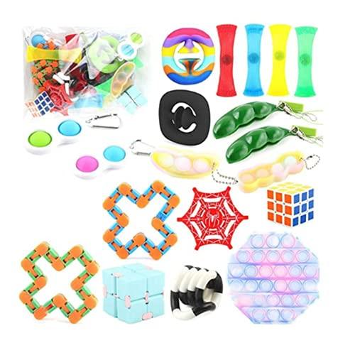 Sensory Fidget Toys Set, Relieve Stress Fidgets Toy Pack Snake Fidget Toy/Stress Relief Balls Anti-Anxiety Toys für Kinder Erwachsene (30PC)