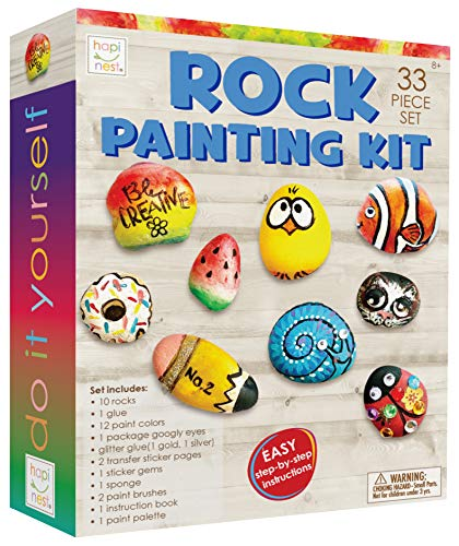 Hapinest Rock Painting Kit for Kids - Arts and Crafts Gifts for Girls and Boys Ages 8 9 10 11 12 Years Old Tween and Teen