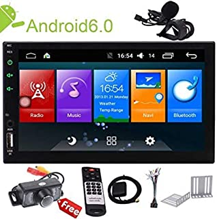 Android 9.0 Touch Screen 2Din Car Stereo 7 inch Double Din in Dash Car Radio Video Player GPS Navigation System Head Unit with Bluetooth WiFi Mirror Link USB SD Wireless Remote External MIC+Camera