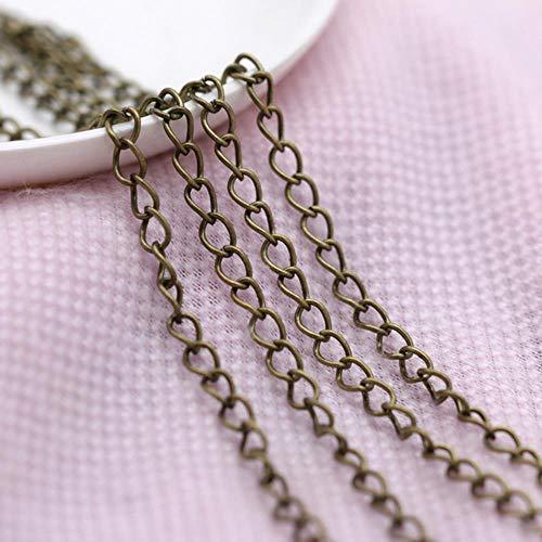 LINFA Gold/Silber/Bronze Kabel Eisen Open Link Tail Extender Sicherheitskette Armband Halskette, Bronze