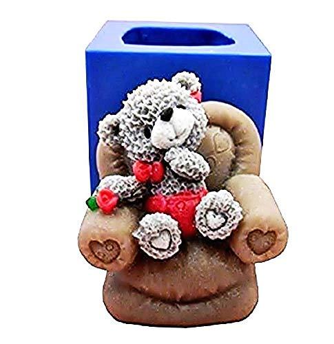 Stampo Silicone Orsetto - Poltrona 3D - Candele - Idea Regalo Natale e Compleanno - Calchi in Silicone - Stampino per Uso Artigianale