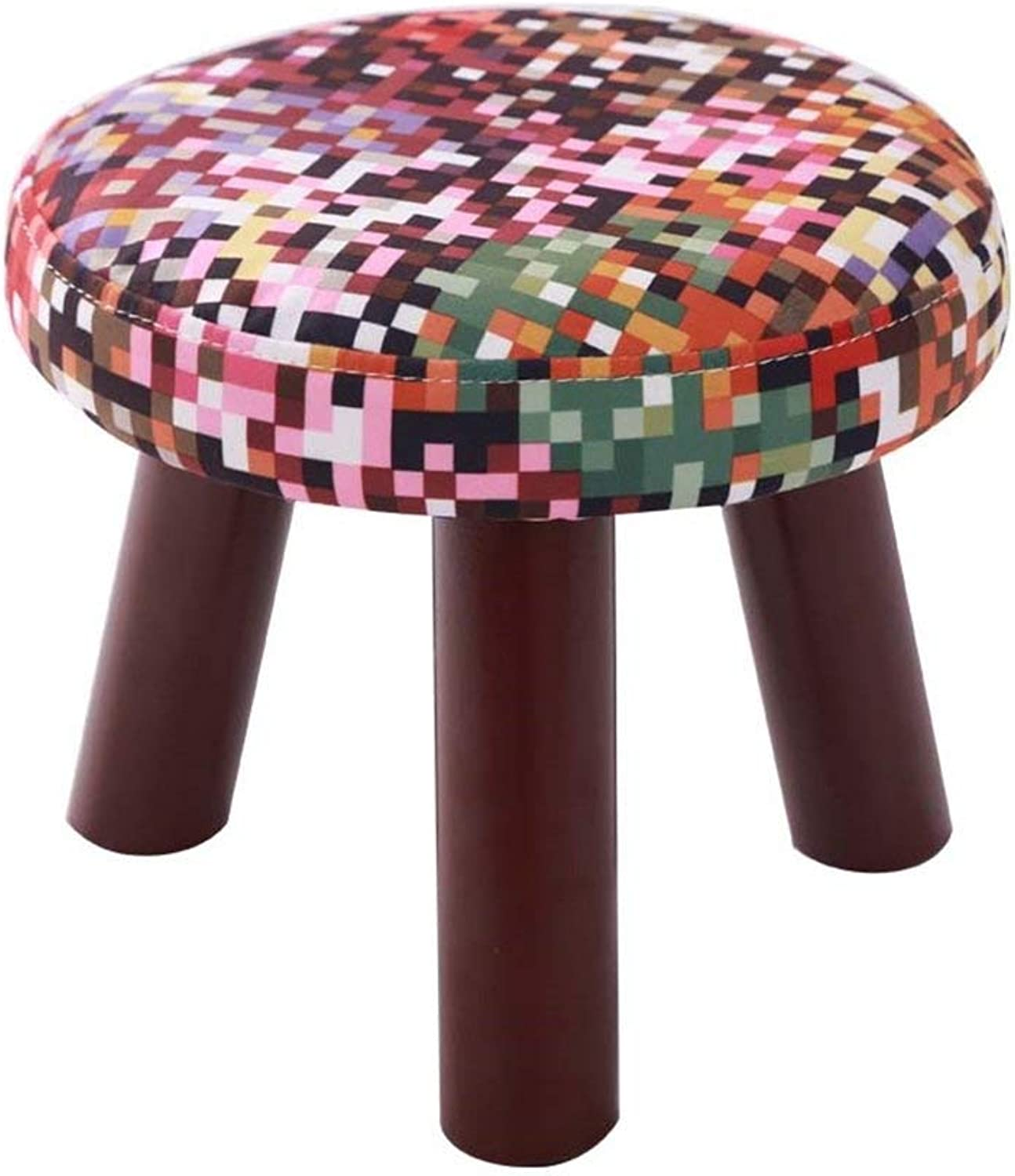 Juexianggou Solid Wood shoes Stool 3 Legs Round Upholstered Footstool Sofa Low Stool Footrest 28x28x25cm for Hallway Foot Stool for Bedroom (color    13)