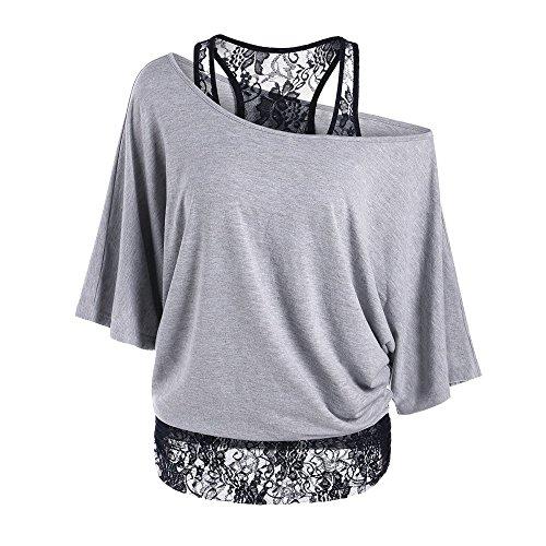 Lulupi Shirt Damen Spitze Schulterfrei Oberteil Bluse Sommer Mode One Shoulder Oversize Tshirt Tunika Lose Fledermausärmel Pullover Top Sweatshirt