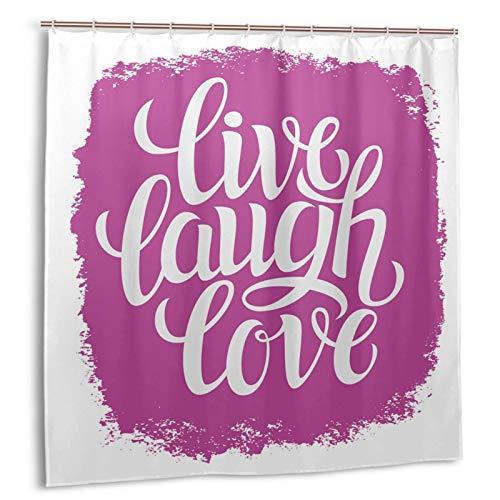 KOSALAER Duschvorhang,Live Lachen Liebe Motivation Lebensdruck,Vorhang Waschbar Langhaltig Hochwertig Bad Vorhang Polyester Stoff Wasserdichtes Design,mit Haken 180x180cm