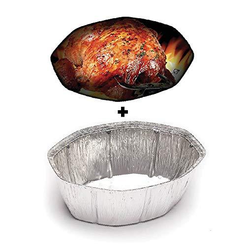 TELEVASO - 100 uds - Envase/recipiente de aluminio oval para pollo asado + tapas - Capacidad 2500 ml y tamaño 192 x 137 x 84 mm - Bandejas desechables y reciclables, apto para altas temperaturas