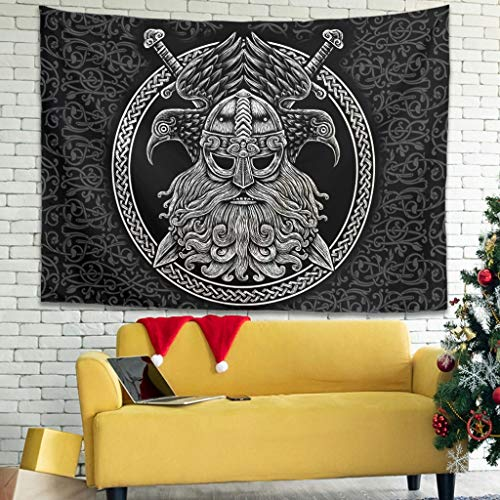 Hothotvery Tapestry Viking Tapestry Printed Comfortable Lightweight Wall Hanging Wall Hanging Decor for Dining Room White 100 x 150 cm