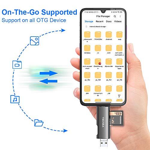 USB C SD Kartenleser, VKUSRA 4-in-1 USB 2.0 Kartenlesegerät, Micro USB OTG Speicherkarten Adapter für SDXC, SDHC, Micro SDHC, Micro SDXC Kompatibel mit Android Handy, Macs, Tablets und Notebooks usw