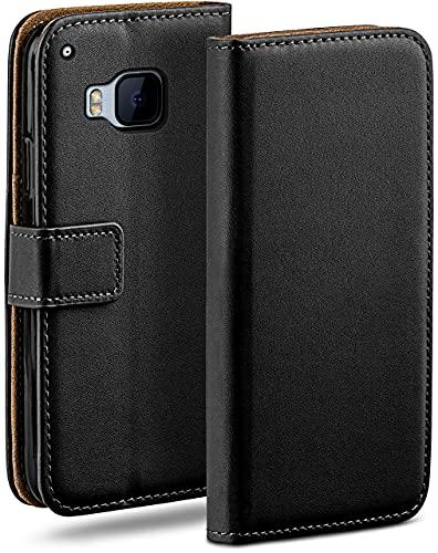 moex Klapphülle kompatibel mit HTC One M9 Hülle klappbar, Handyhülle mit Kartenfach, 360 Grad Flip Hülle, Vegan Leder Handytasche, Schwarz