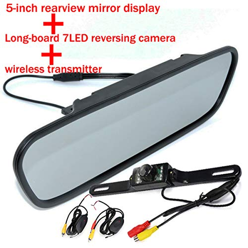 GOFORJUMP HD 5 Pouces Couleur TFT LCD rétroviseur de Voiture Moniteur écran inverseur de Voiture avec Moniteur de Voiture pour 7LED caméra de recul